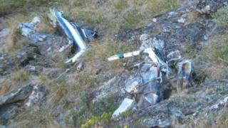 The wreckage of the Hughes 500 helicopter in New Zealand