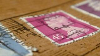 Stamps on a parcel