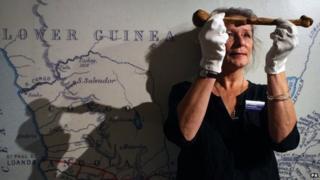 Sarah Worden with a bone belonging to explorer Dr Livingstone