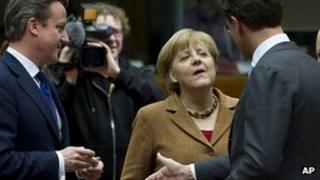 Angela Merkel with David Cameron and Dutch Prime Minister Mark Rutte. 22 Nov 2012