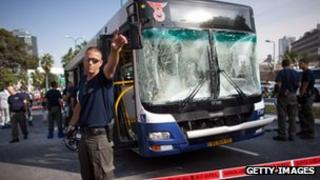 Emergency services at the scene of the bombed bus in Tel Aviv, Israel on 21 Nov 2012