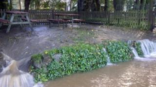 Flooded beer garden at the Riverside Inn