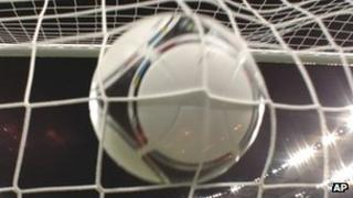 Football in the back of the net
