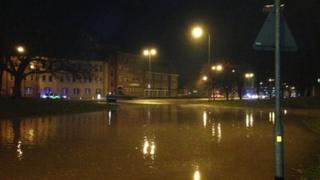 Water at roundabout