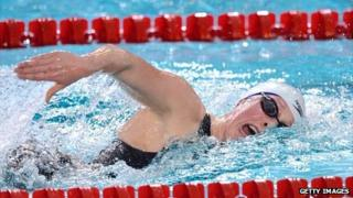 British swimmer Hannah Miley competes during the women's 800m freestyle final at the European Swimming Championships in November 2012