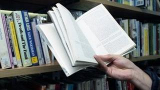 A book being read in a library
