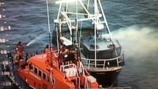 The Dunmore East Lifeboat attempted to extinguish the fire on the fishing boat