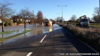 Flooded A4500 at Kislingbury