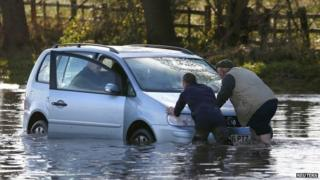 Flooded car in Hathern, Leicestershire