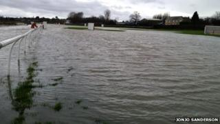 Flooded back straight at Wetherby racecourse in November 2012