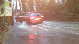 Flood water at Kiln Lane near Eastleigh