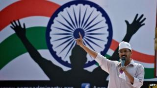 Arvind Kejriwal addresses a rally after launching the Aam Aadmi Party in Delhi on 26 November 2012