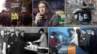 Clockwise, from top left: 'People's March for Jobs from Liverpool to London in 1981, the character Frank Gallagher from Shameless (image: Channel 4), Jef Aerosol's graffiti beggar, a dole office queue for supplementary benefit and a 1924 soup kitchen