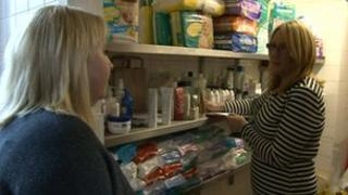 Jill Barlow collecting food from the Birkenhead food bank