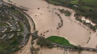 Flooding at Cowley Bridge near Exeter, on Sunday