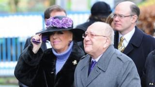 Julie Goodyear and Roy Barraclough at Bill Tarmey's funeral