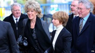 Sue Nicholls and Helen Worth at Bill Tarmey's funeral