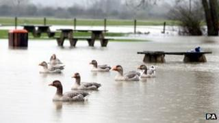 Flooding near the River Thames in Oxfordshire