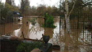 A flooded garden by the River Severn in Gloucester