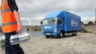 John Menzies truck and staff member