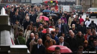 Commuters at London Bridge