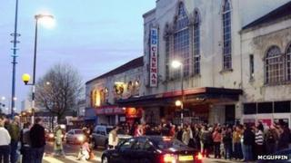 Protesters outside the former cinema