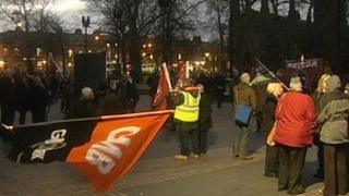 Newcastle city council cuts protest