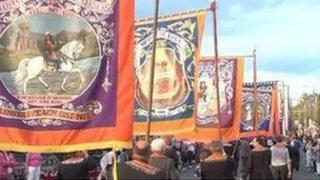 orange banners