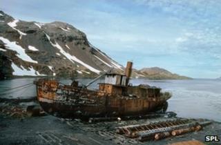 Abandoned whaling ship