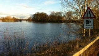 Flood water from River Derwent