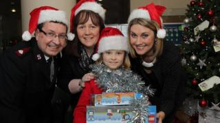 Helping launch this year's Family Appeal in BBC Broadcasting House, Belfast, earlier today, are Major Alan Watters from Salvation Army, Aileen Coney from St Vincent de Paul, Katie from Holy Family Primary, Belfast and the BBC's Sarah Travers