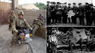 Clockwise from left: Cpl Cartwright with captured Taliban motorbike; French soldiers with black cross insignia from downed German plane; WWII soldiers in New Guinea with Japanese flags