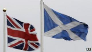 Union flag and saltire