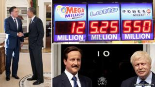 Mitt Romney shakes hands with Barack Obama, David Cameron and Boris Johnson's wax figurines sport moustaches for Movember and the Mega Millions marquee