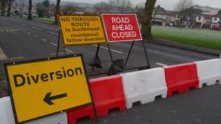 Bristol Water road closure signs