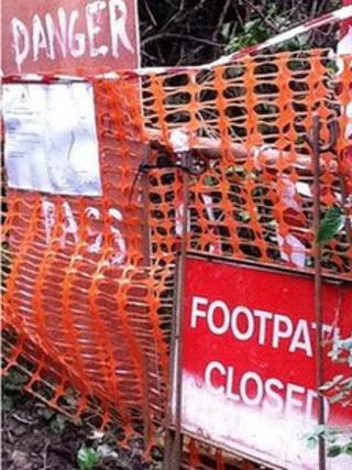 Coastal footpath closed