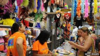Shoppers at a carnival market in Rio de Janeiro