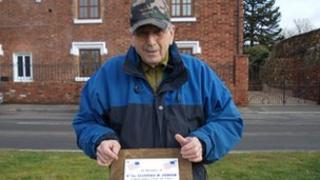 Ivor Jones with plaque