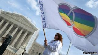 A same-sex marriage activist outside the US Supreme Court in Washington DC on 30 November 2012