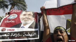 Supporters of Egyptian President Mohammed Morsi demonstrate in Cairo, 1 December