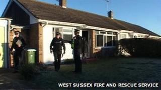 Scene of the fire in Winston Crescent, Bognor Regis