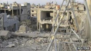 A Homs building destroyed by an army air strike, 30 November