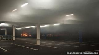 The fire in the bin storage area