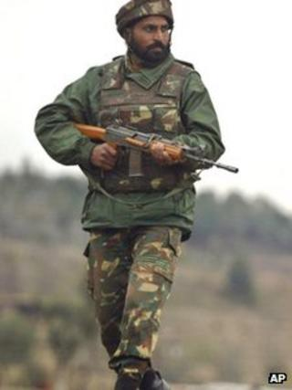Indian army soldier on patrol