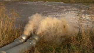 Floodwater being pumped