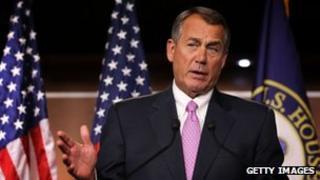 US Speaker of the House Rep John Boehner speaks during a news conference 30 November 2012