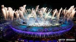 Fireworks at the Olympics opening ceremony