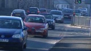 Traffic in Bontnewydd, nr Caernarfon, Gwynedd
