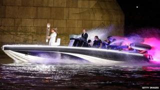 David Beckham driving a speedboat on the River Thames