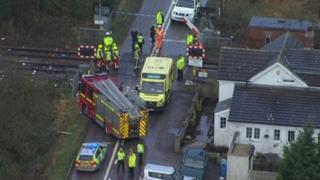 Overhead shot of crash scene